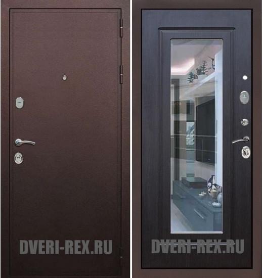 Стальная дверь Рекс 5А Антик медный / ФЛ-158 с зеркалом (Венге)