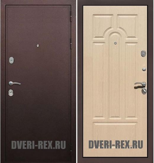 Стальная дверь Рекс 5А Антик медный / ФЛ-58 (Беленый дуб)