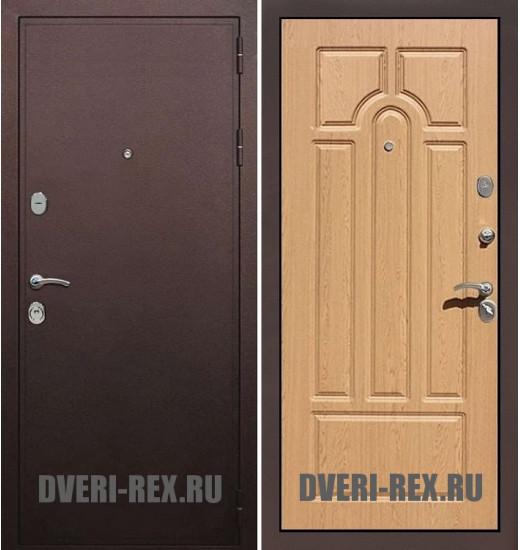 Стальная дверь Рекс 5А Антик медный / ФЛ-58 (Дуб натуральный)