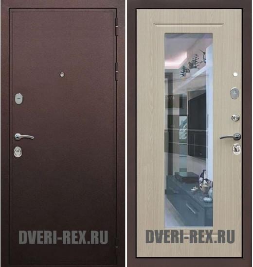 Стальная дверь Рекс 5А Антик медный / ФЛ-158 с зеркалом (Беленый дуб)