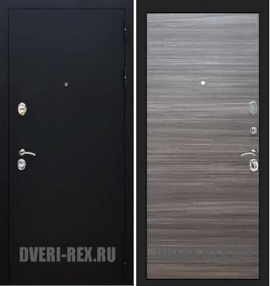 Стальная дверь Рекс 5А Черный муар (Сандал серый)
