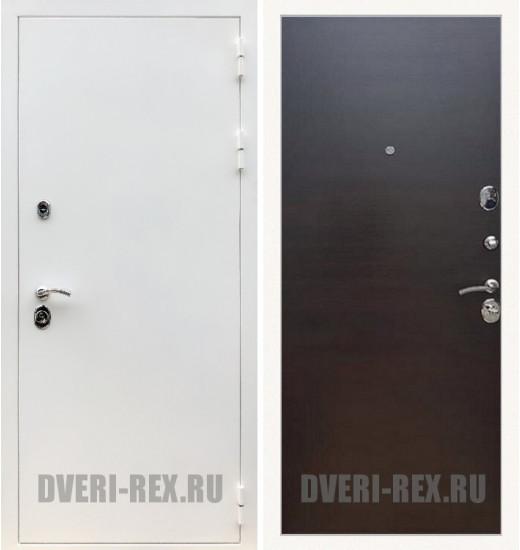 Стальная дверь Рекс 5А Белая шагрень / (Венге поперечный)