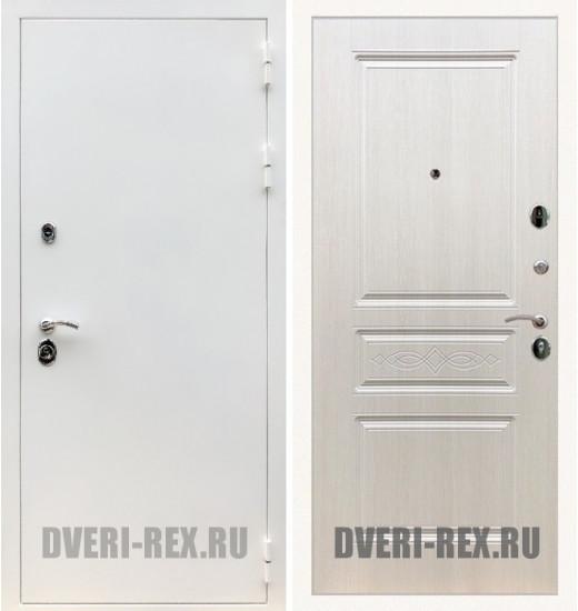 Стальная дверь Рекс 5А Белая шагрень / ФЛ-243 (Лиственница беж)