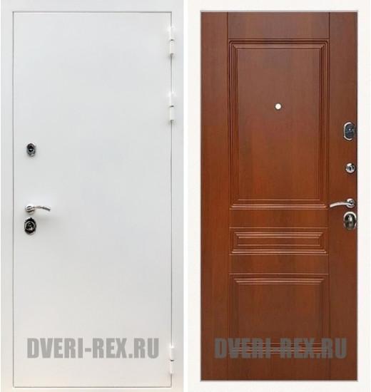 Стальная дверь Рекс 5А Белая шагрень / ФЛ-243 (Орех)