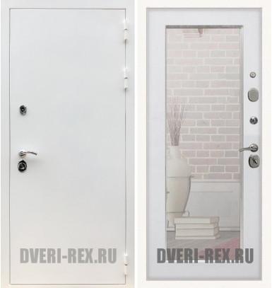 Стальная дверь Рекс 5А Белая шагрень / Пастораль с зеркалом (Белый ясень)