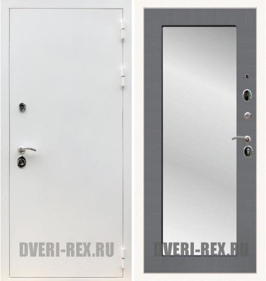 Стальная дверь Рекс 5А Белая шагрень / Пастораль с зеркалом (Графит софт)