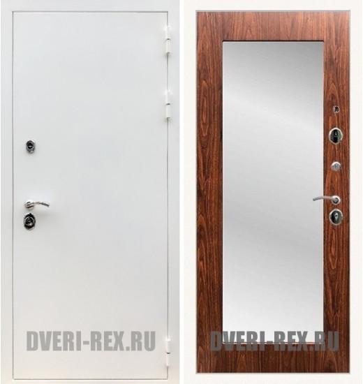 Стальная дверь Рекс 5А Белая шагрень / Пастораль с зеркалом (Береза мореная)
