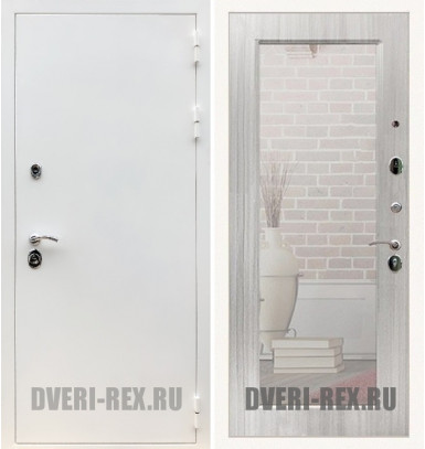 Стальная дверь Рекс 5А Белая шагрень / Пастораль с зеркалом (Сандал белый)