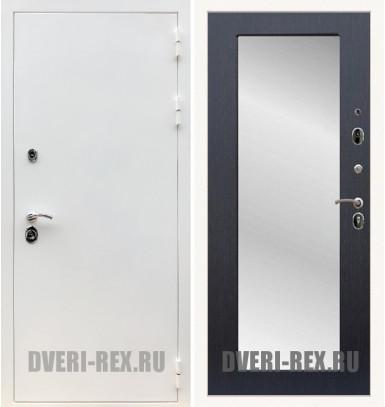 Стальная дверь Рекс 5А Белая шагрень / Пастораль с зеркалом (Венге)
