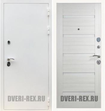 Стальная дверь Рекс 5А Белая шагрень / СБ-14 (Лиственница беж)