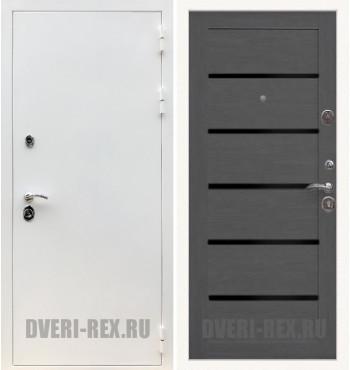 Стальная дверь Рекс 5А Белая шагрень / СБ-14 (Лиственница серая)