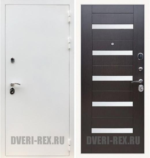 Стальная дверь Рекс 5А Белая шагрень / СБ-14 (Венге)
