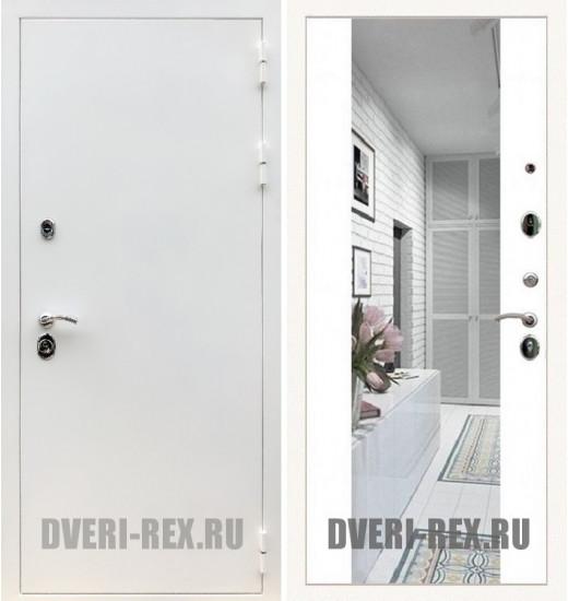 Стальная дверь Рекс 5А Белая шагрень / СБ-16 с зеркалом (Белый софт)