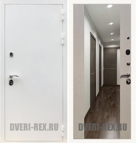 Стальная дверь Рекс 5А Белая шагрень / СБ-16 с зеркалом (Лиственница беж)