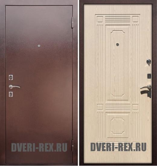 Стальная дверь Рекс 1 Антик медь / ФЛ-2 (Беленый дуб)