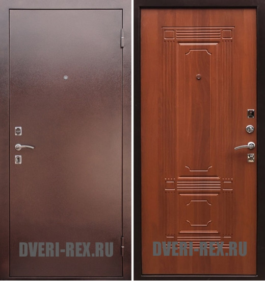 Стальная дверь Рекс 1 Антик медь / ФЛ-2 (Орех)