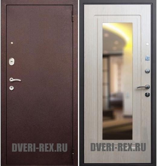 Стальная дверь Рекс 1А Антик медь / ФЛ-158 с зеркалом (Беленый дуб)