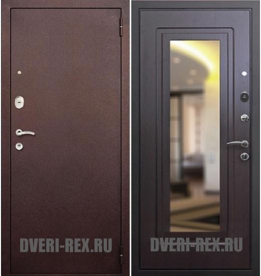 Стальная дверь Рекс 1А Антик медь / ФЛ-158 с зеркалом (Венге)