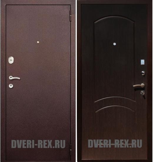 Стальная дверь Рекс 1А Антик медь / ФЛ-100 (Венге)