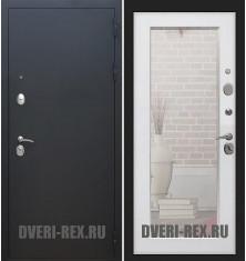 Стальная дверь Рекс 1А Муар черный / Пастораль с зеркалом (Белый ясень)