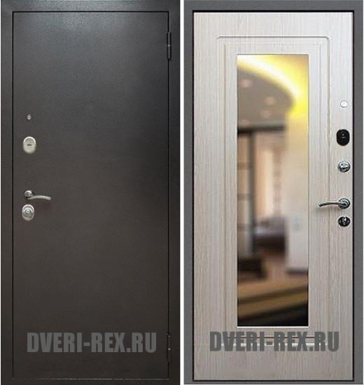 Стальная дверь Рекс 2 Антик серебро / ФЛ-158 с зеркалом (Беленый дуб)