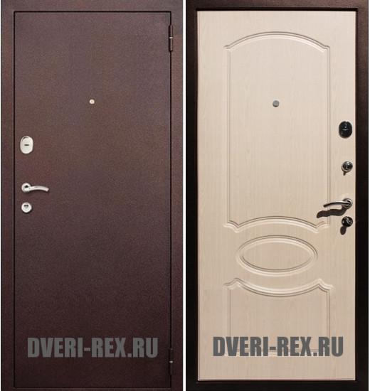 Стальная дверь Рекс 2 Антик медь / ФЛ-128 (Беленый дуб)