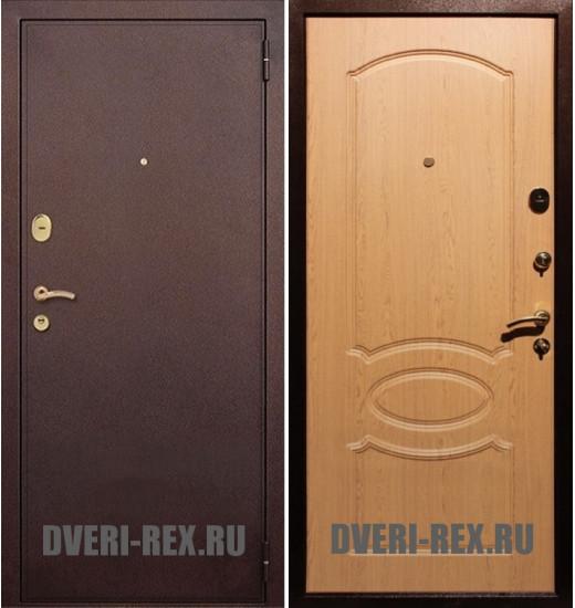 Стальная дверь Рекс 2 Антик медь / ФЛ-128 (Дуб натуральный)