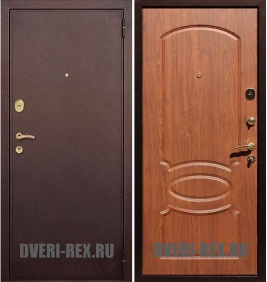 Стальная дверь Рекс 2 Антик медь / ФЛ-128 (Орех)