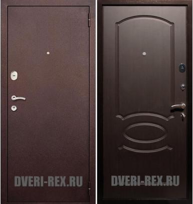 Стальная дверь Рекс 2 Антик медь / ФЛ-128 (Венге)