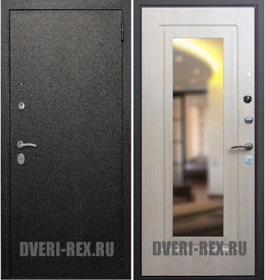 Стальная дверь Рекс Верона / ФЛЗ-158 с зеркалом (Беленый дуб)
