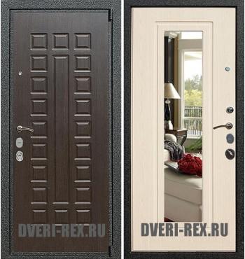 Стальная дверь Рекс 4А Mottura / ФЛ-158 с зеркалом (Беленый дуб)