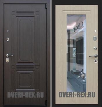 Стальная дверь Рекс 9 Викинг ФЛЗ-158 с зеркалом (Беленый дуб)