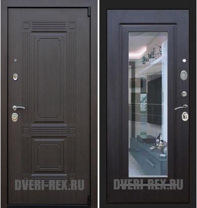 Стальная дверь Рекс 9 Викинг ФЛЗ-158 с зеркалом (Венге)