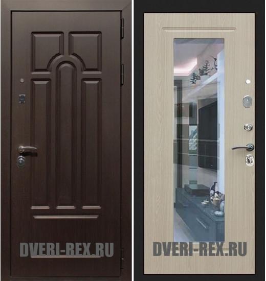 Стальная дверь Рекс Эврика ФЛЗ-158 с зеркалом (Беленый дуб)