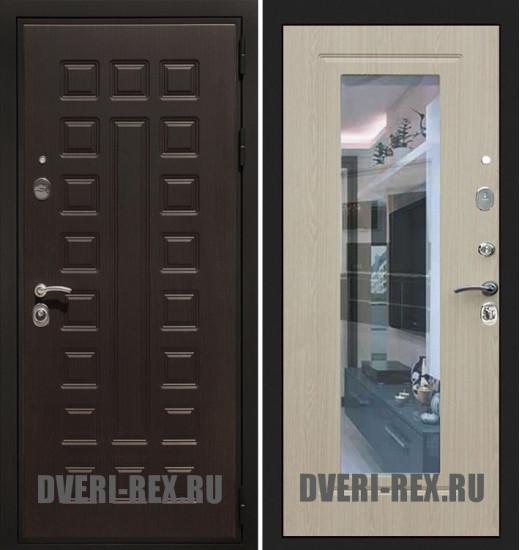 Стальная дверь Рекс Премиум 3К ФЛЗ-158 с зеркалом (Беленый дуб)