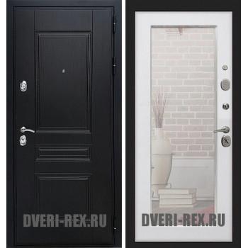 Стальная дверь Рекс Премиум H / Пастораль с зеркалом (Белый ясень)