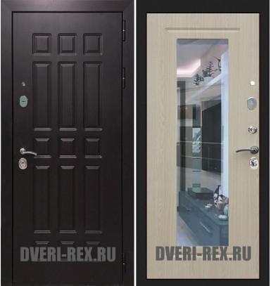Стальная дверь Рекс Сенатор 2К ФЛЗ-158 с зеркалом (Беленый дуб)