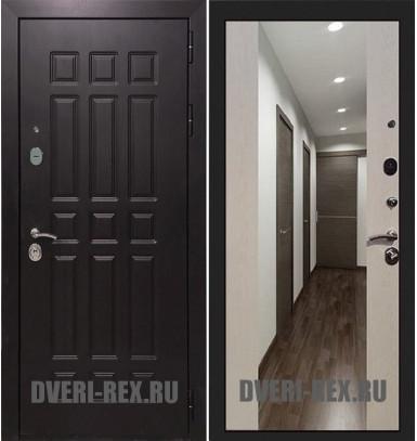 Стальная дверь Рекс Сенатор 2К СБ-16 с зеркалом (Лиственница беж)