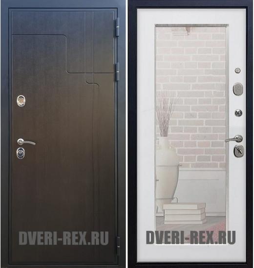 Стальная дверь Рекс Премиум 246 / Пастораль с зеркалом (Белый ясень)