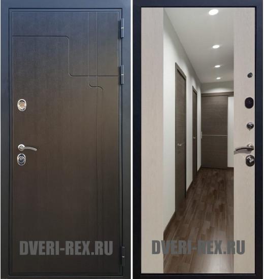 Стальная дверь Рекс Премиум 246 / СБ-16 с зеркалом (Лиственница беж)