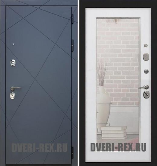 Стальная дверь Рекс 13 / Пастораль с зеркалом (Белый ясень)