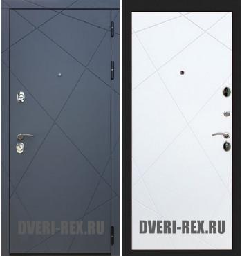 Стальная дверь Рекс 13 / Лучи (Белый софт)