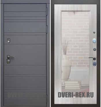 Стальная дверь Рекс 14 / Пастораль с зеркалом (Сандал белый)