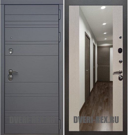 Стальная дверь Рекс 14 / СБ-16 с зеркалом (Лиственница беж)