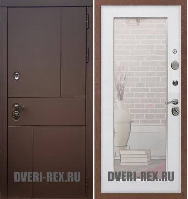 Стальная дверь Рекс Урбан / Пастораль с зеркалом (Белый ясень)