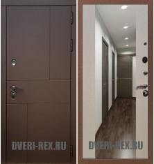 Стальная дверь Рекс Урбан / СБ-16 с зеркалом (Лиственница беж)