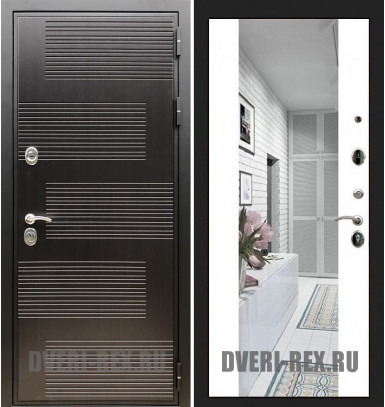 Стальная дверь Рекс Премиум 185 / СБ-16 с зеркалом (Белый софт)