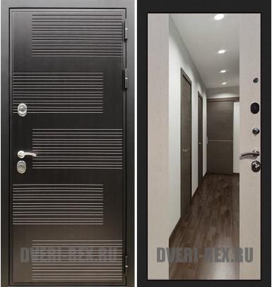Стальная дверь Рекс Премиум 185 / СБ-16 с зеркалом (Лиственница беж)