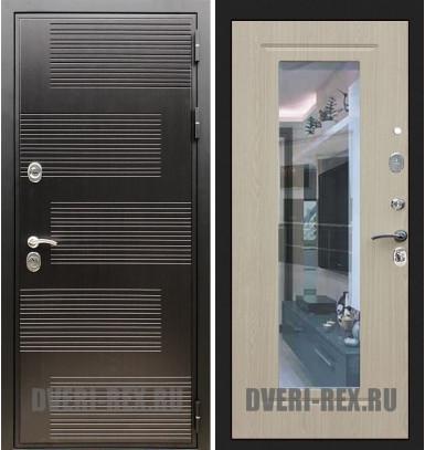 Стальная дверь Рекс Премиум 185 / ФЛЗ-158 с зеркалом (Беленый дуб)