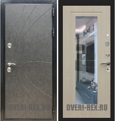 Стальная дверь Рекс Премиум 248 / ФЛЗ-158 с зеркалом (Беленый дуб)